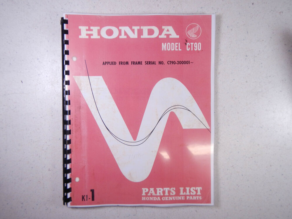 69 Honda Ct90 Ct 90 K1 Trail Bike Parts Fiche Fish Diagram Book Manual Catalog