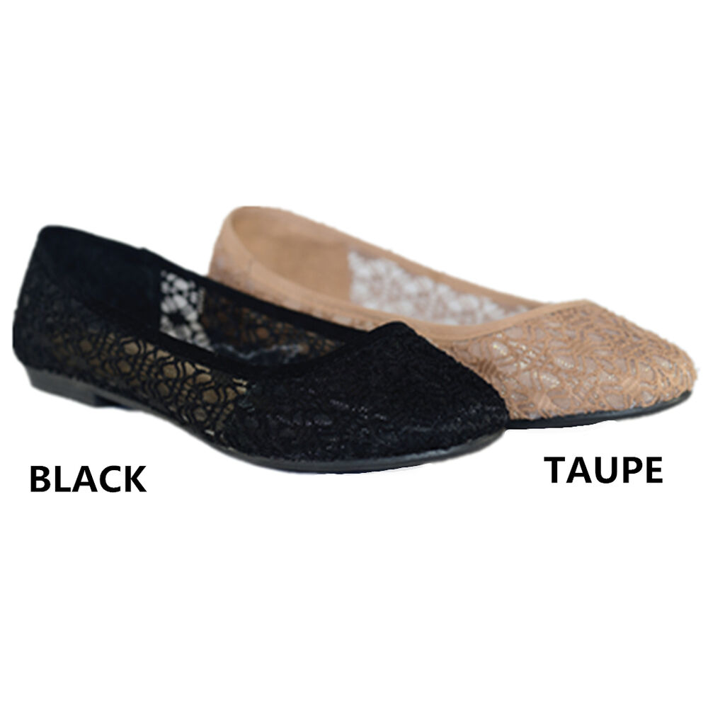 Womens Ballet Lace Mesh Flat Slip On Shoes Casual Dress ...