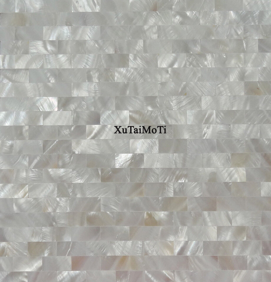 White Brick Shell Mosaic Mother Of Pearl Groutless Kitchen