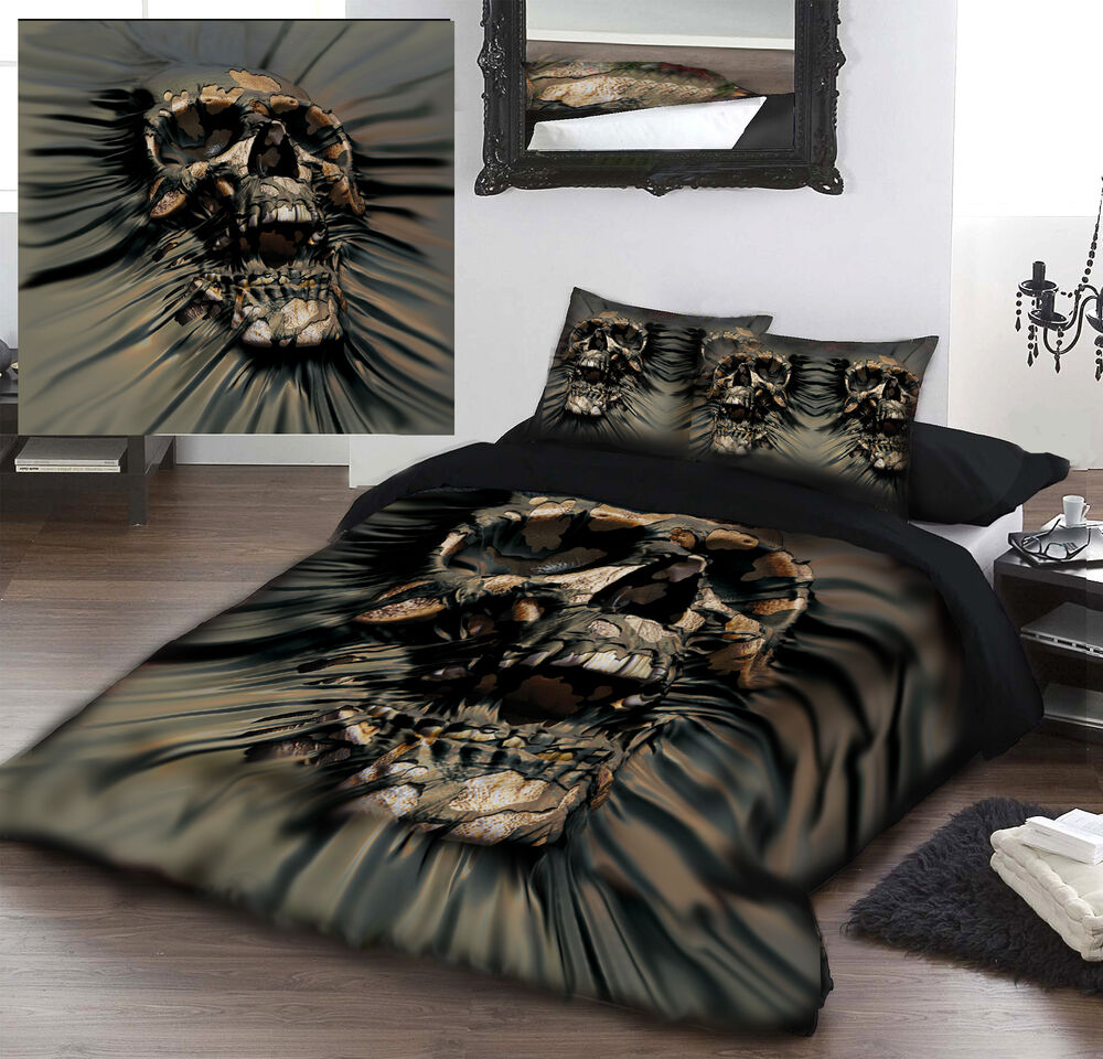 skull rip thru duvet cover set for kingsize bed artwork. Black Bedroom Furniture Sets. Home Design Ideas