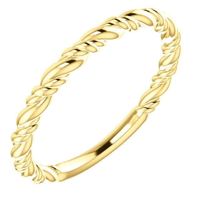 Rope Design Bands: Stackable Rope Style Design Ring Solid 14K Yellow, White