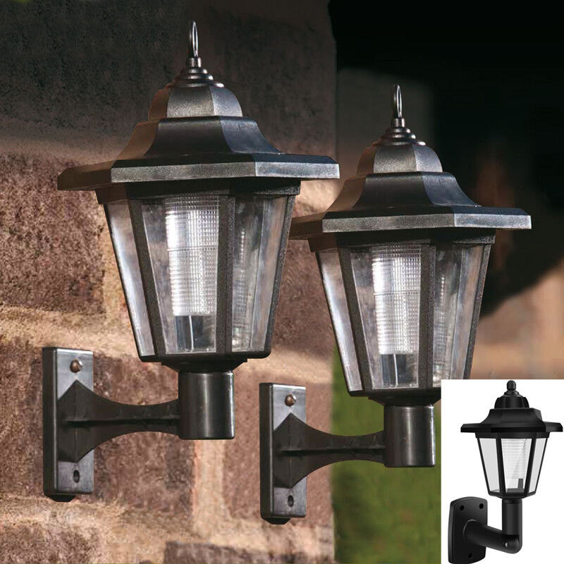 Solar Wall Lantern Lights : LED SOLAR POWERED WALL LANTERNS WALL LIGHT LAMP OUTDOOR GARDEN FENCE DOOR eBay