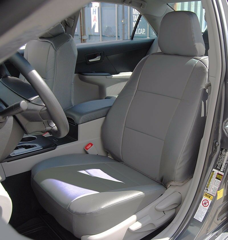 toyota camry 2012 2016 grey leather like custom fit front seat cover ebay. Black Bedroom Furniture Sets. Home Design Ideas