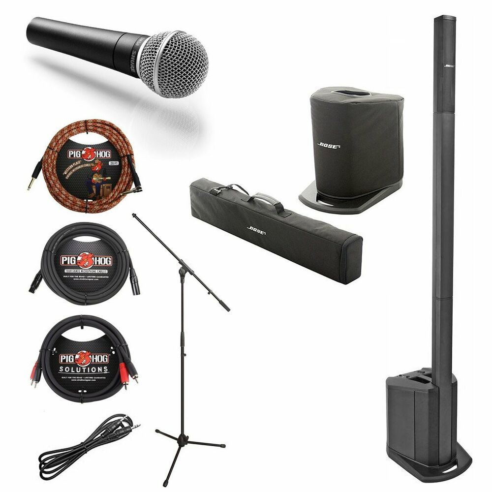 bose l1 compact portable w shure sm58 mic w stand cables bundle ebay. Black Bedroom Furniture Sets. Home Design Ideas