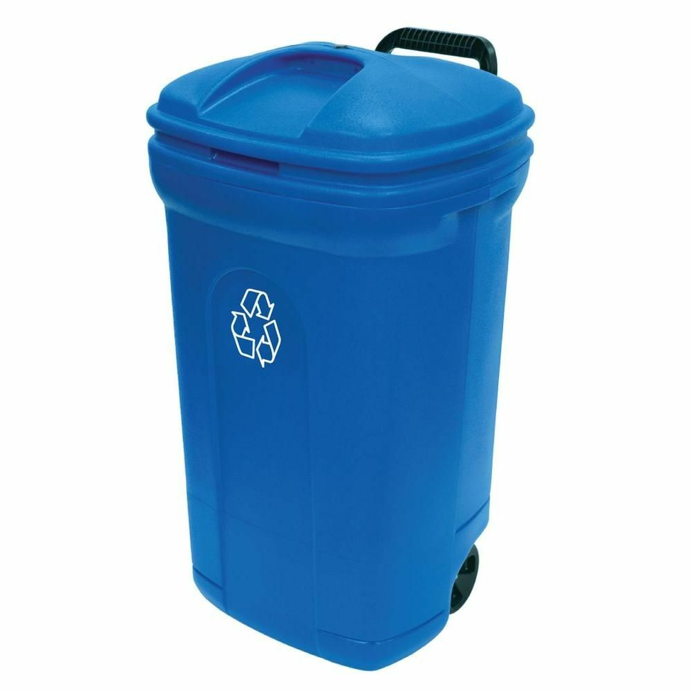 34 gal wheeled outdoor recycling container bin garbage trash can blue ebay. Black Bedroom Furniture Sets. Home Design Ideas