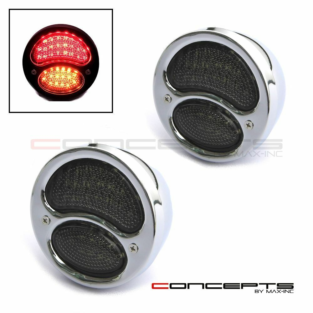Pair Of Chrome Vintage LED Stop / Tail Lights Classic Hot