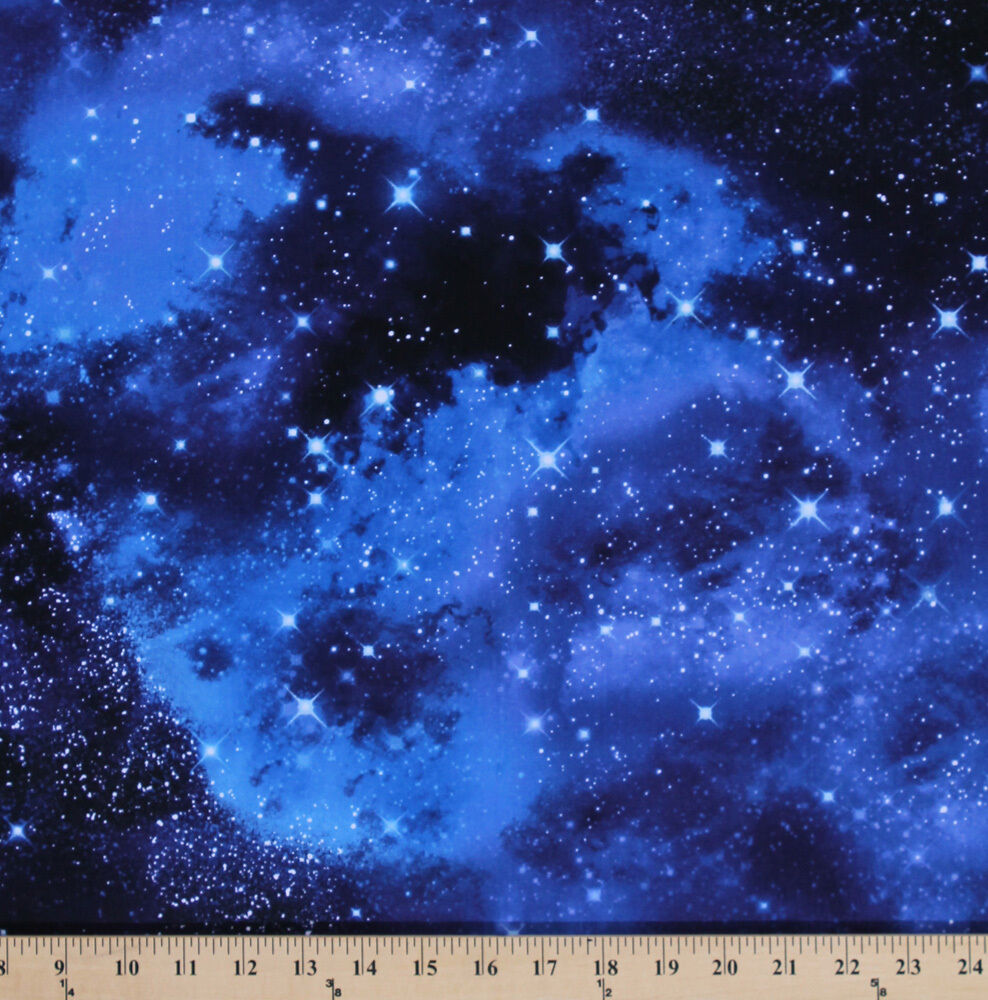 Cotton outer space galaxy stars cotton fabric print by for Outer space fabric by the yard