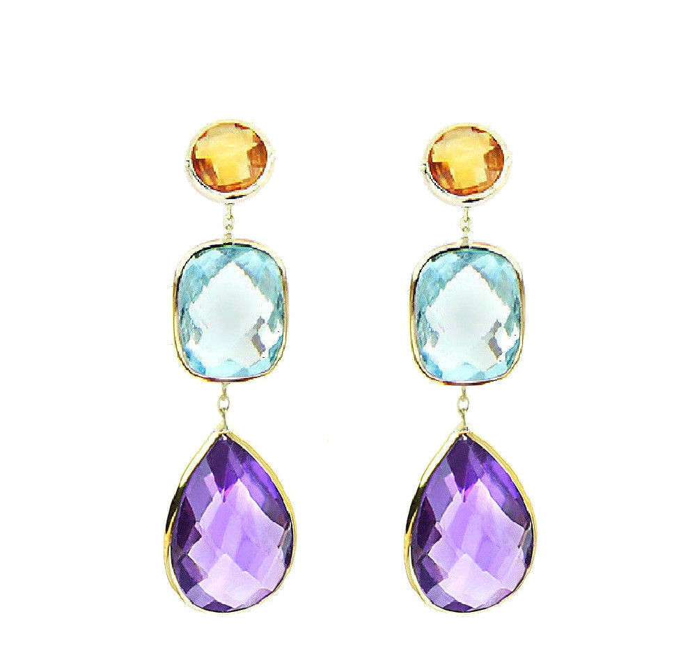 14k Yellow Gold Gemstone Earrings With Citrine Blue Topaz