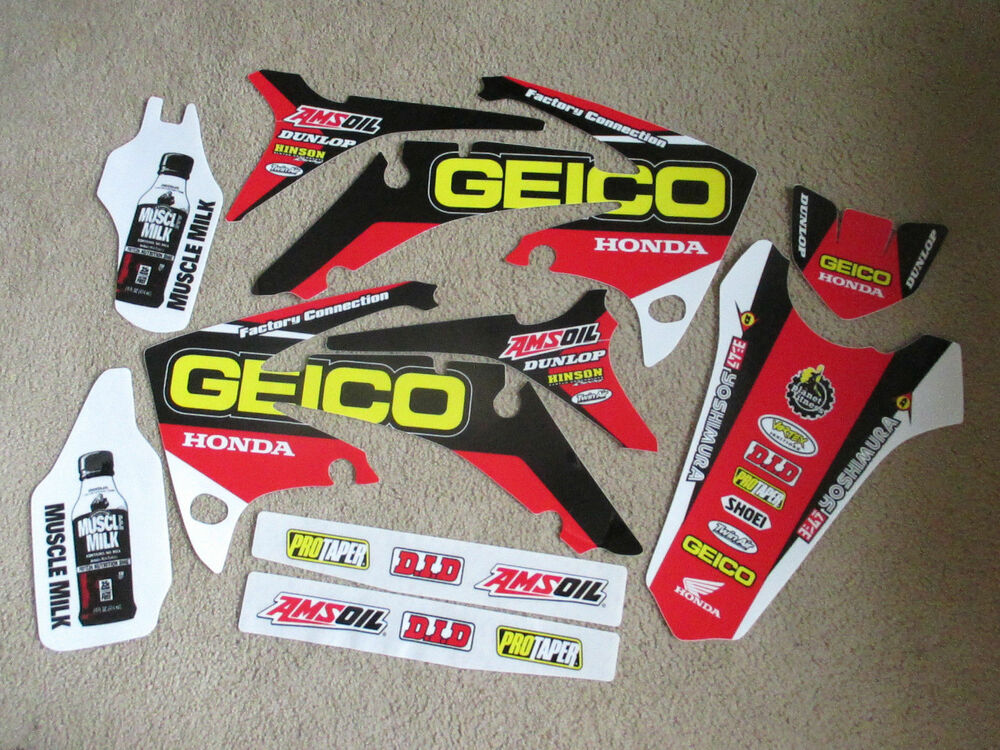 team geico honda graphics 2009 2012 crf450r 2010 2013 crf250r ebay. Black Bedroom Furniture Sets. Home Design Ideas