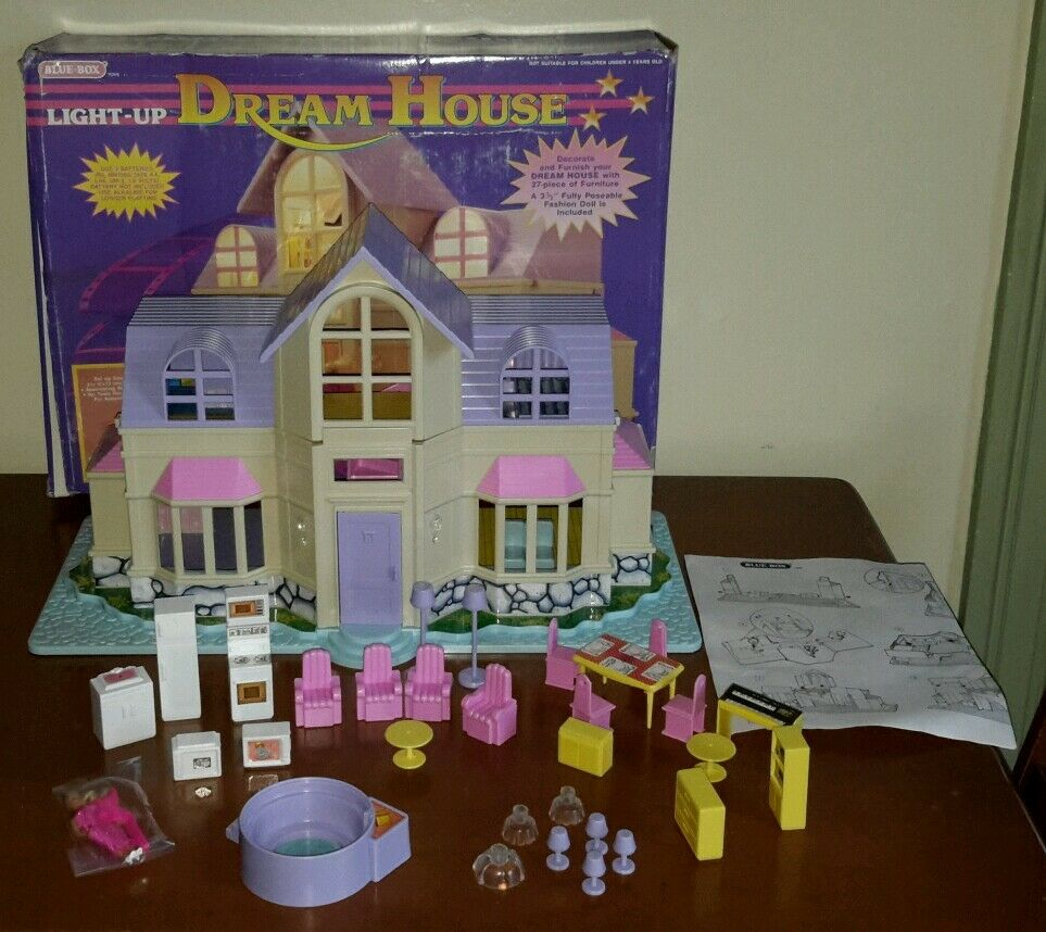 Vintage Blue Box Polly Pocket Size Light Up Dream House