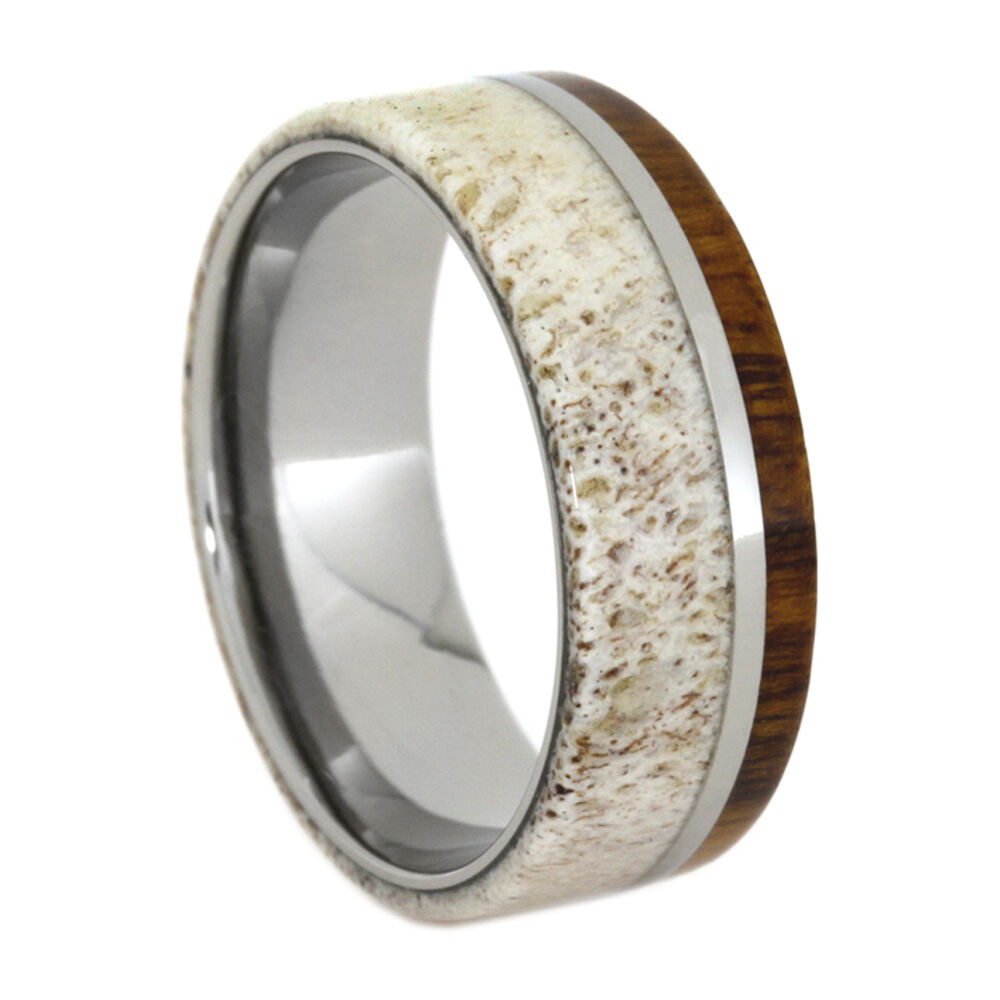 Deer antler ring wood wedding band titanium ring with for Wedding rings bands