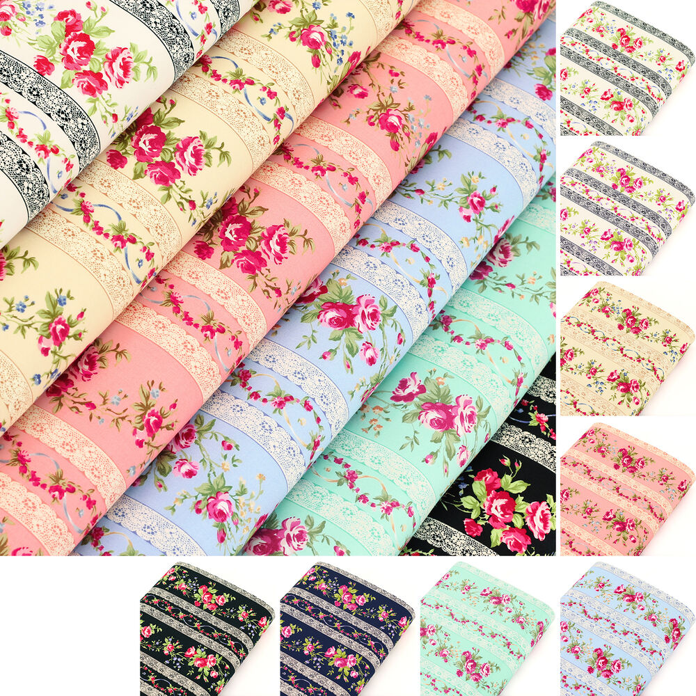 Cotton fabric fq rose flower lace stripe print vintage for Cotton quilting fabric
