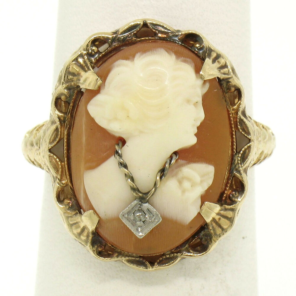 Antique Art Deco 10k Yellow Gold Filigree Shell Cameo Ring