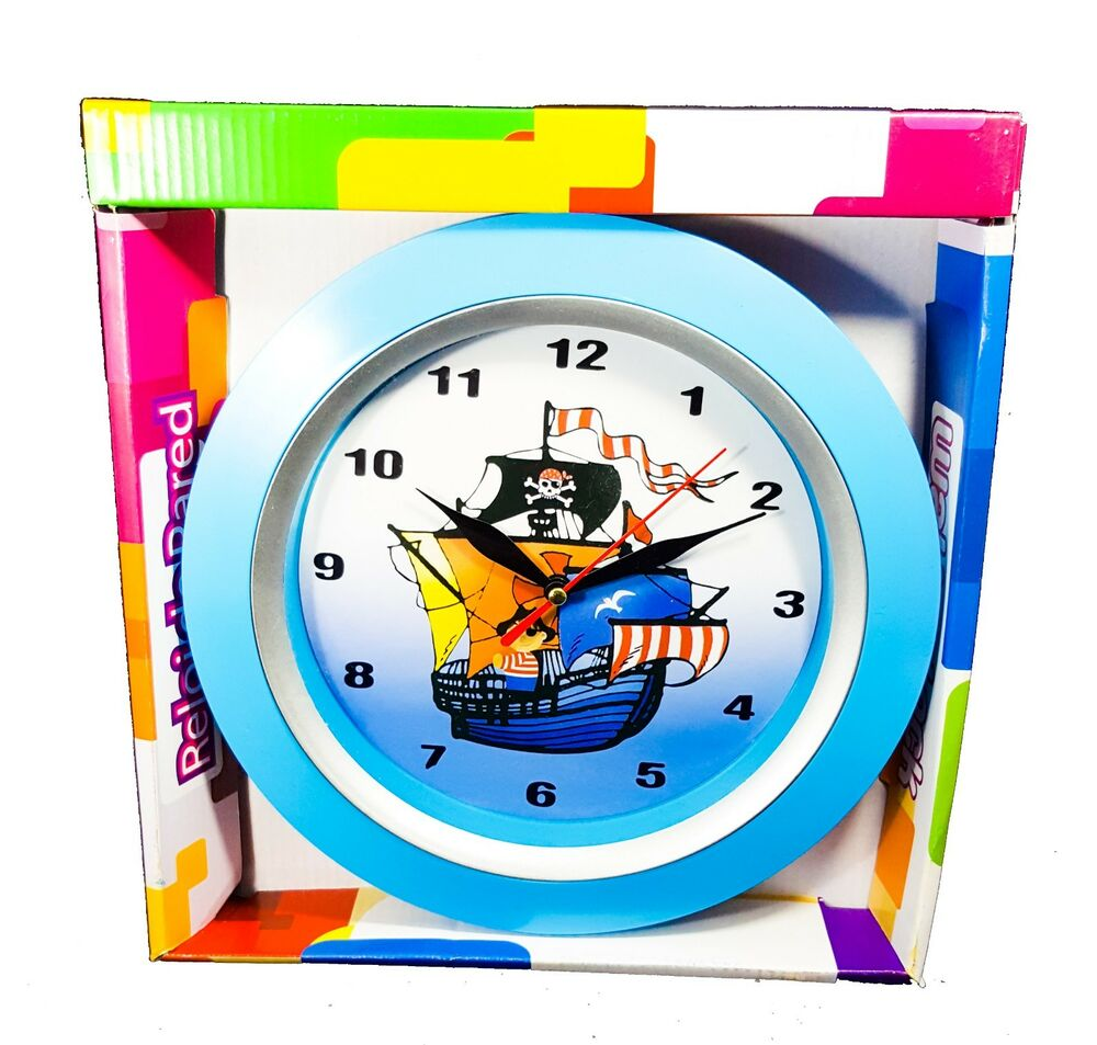 Pirate Wall Clock Childrens Pirate Ship Bedroom Wall Clock