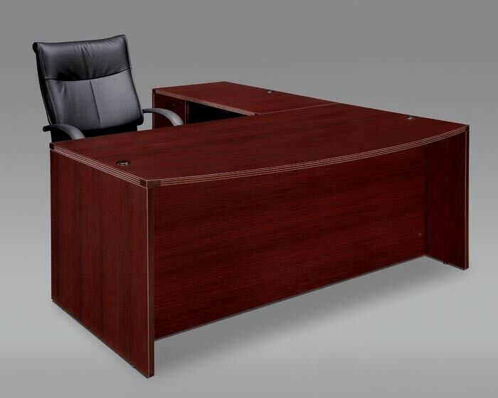New Amber Bow Front L Shape Executive Office Desk With