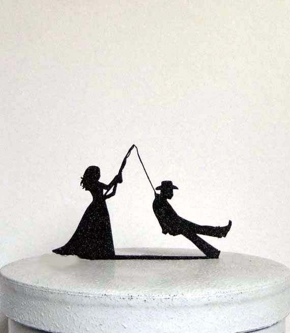 Funny and Unique Wedding Cake Topper - Bride fishing Groom ...