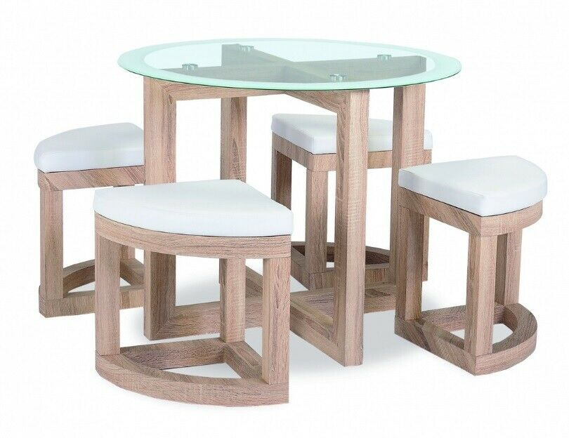 White high gloss stowaway dining table 4 stools dia90cm for Stowaway dining table