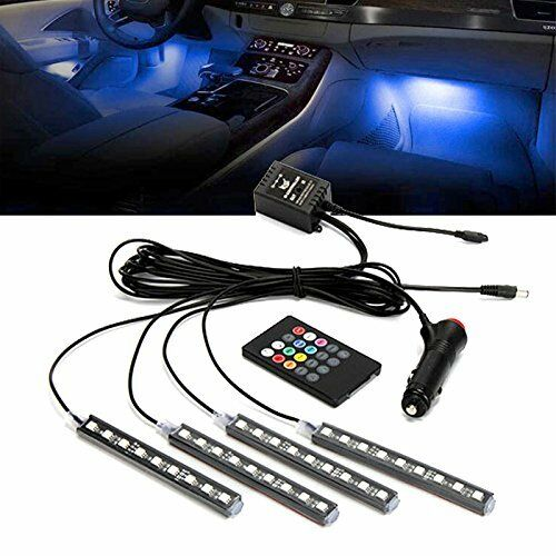 12v multi color 7 led car interior underdash lighting kit with sound activated ebay. Black Bedroom Furniture Sets. Home Design Ideas
