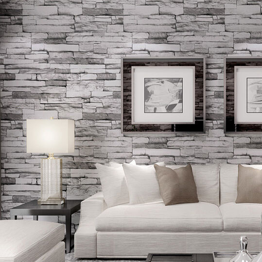 3d designed grey realistic real look up stack brick stone - Papel pintado para salon moderno ...