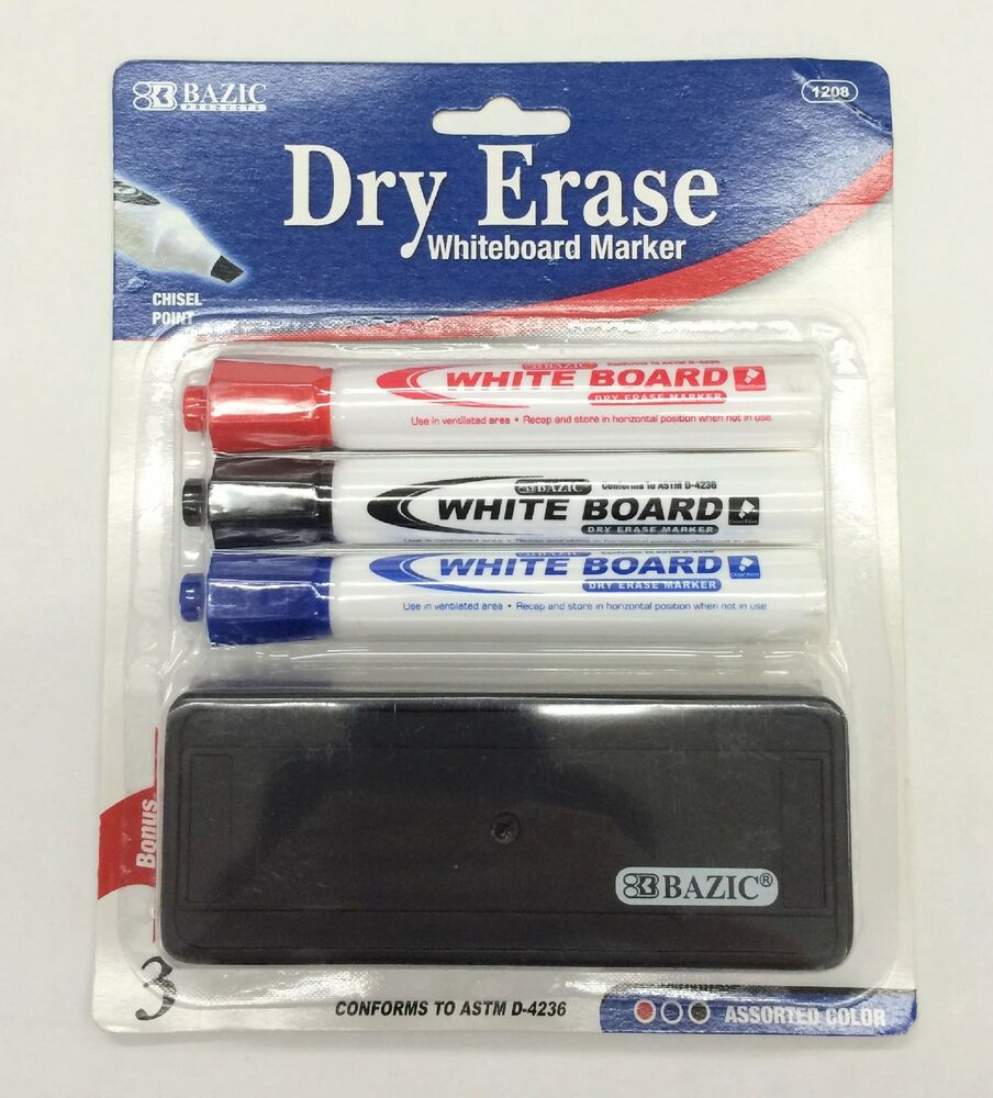 3 Color White Board Markers Office School Chisel Tip Dry