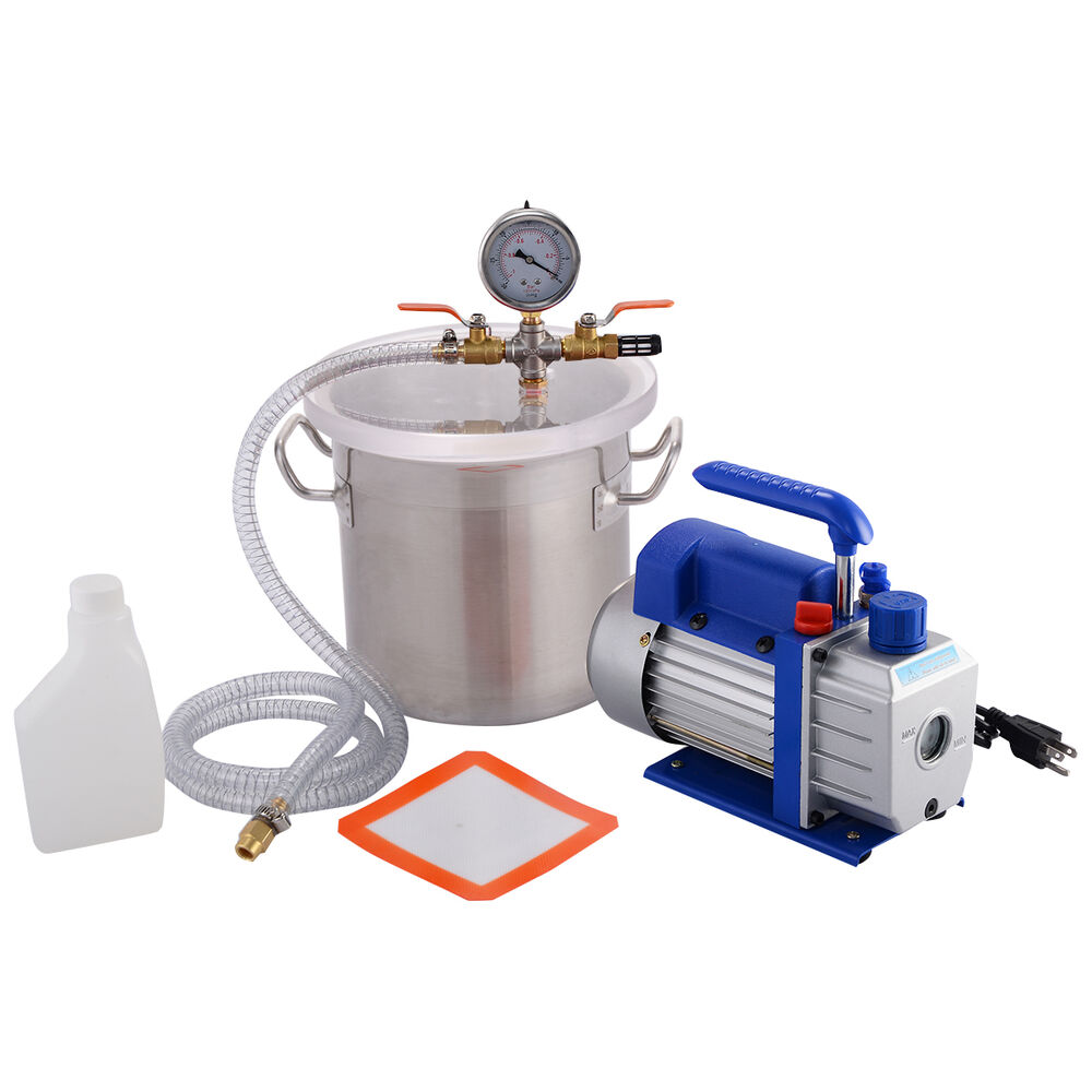 New 2 Gallon Vacuum Chamber and 3 CFM Single Stage Pump ...