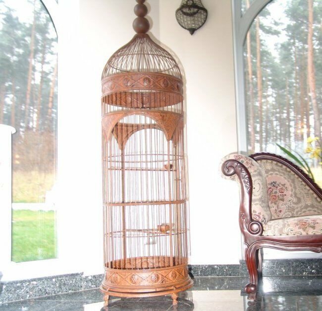 shabby chic metal bird cage antique brown decorative canary stand wedding ebay. Black Bedroom Furniture Sets. Home Design Ideas
