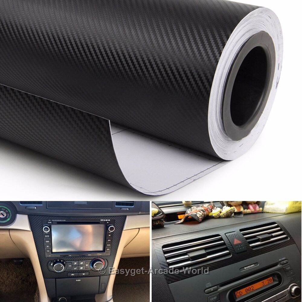 3d Car Interior Accessories Interior Panel Black Carbon Fiber Vinyl Wrap Sticker Ebay