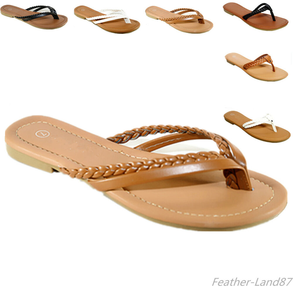 new womens summer casual thong flat flip flops sandals. Black Bedroom Furniture Sets. Home Design Ideas