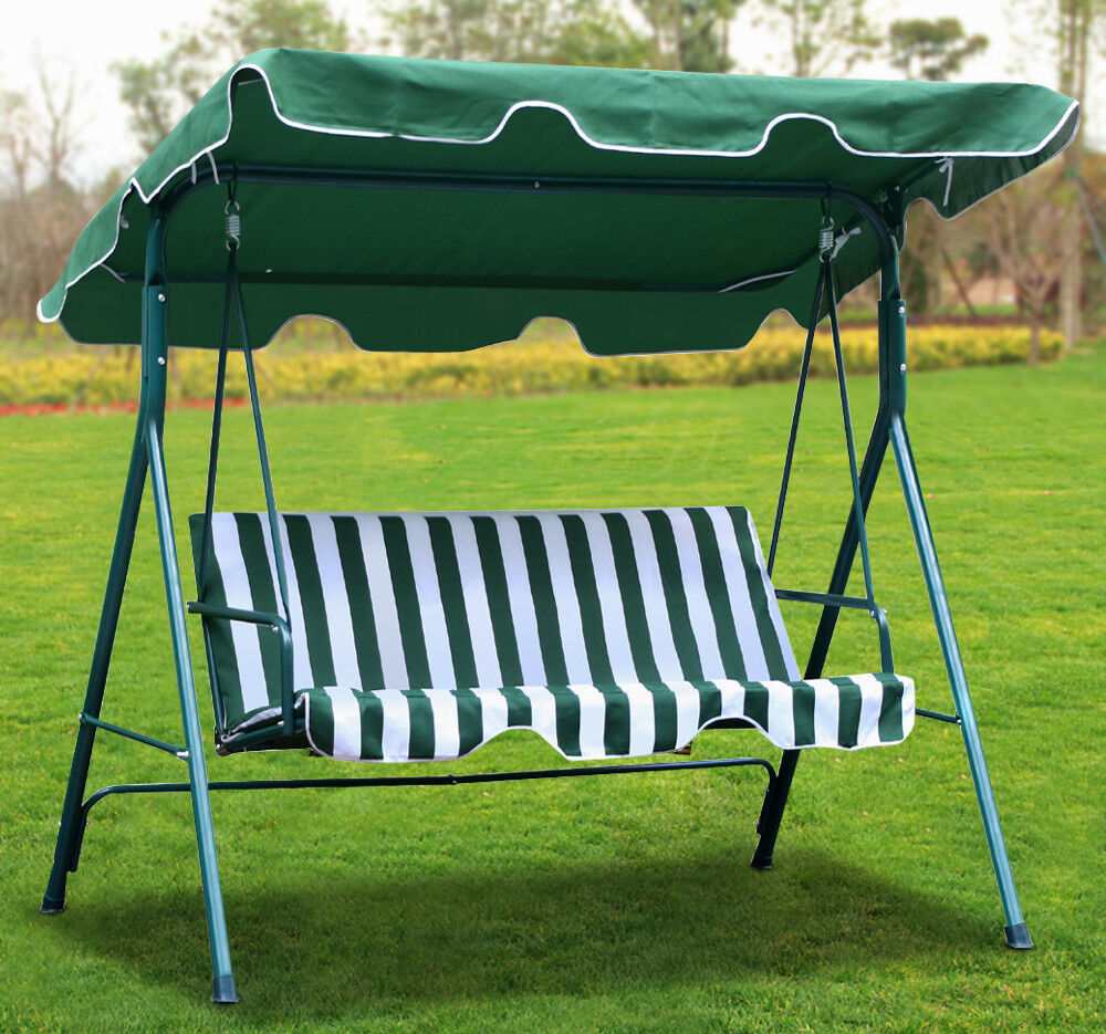 Patio Swing Chair 3 Seater Iron Outdoor Garden Canopy ...