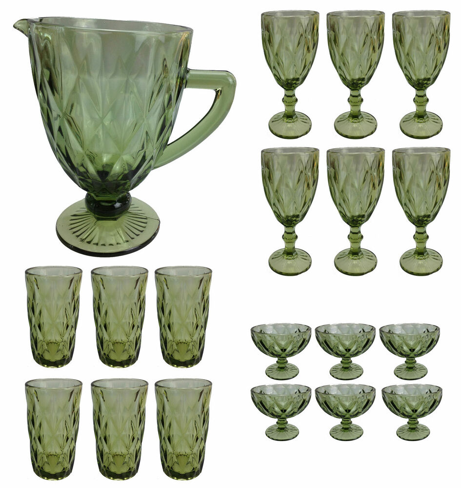 weinglas vintage gr n glas gl ser weingl ser eisbecher wasserglas wasserkug ebay. Black Bedroom Furniture Sets. Home Design Ideas