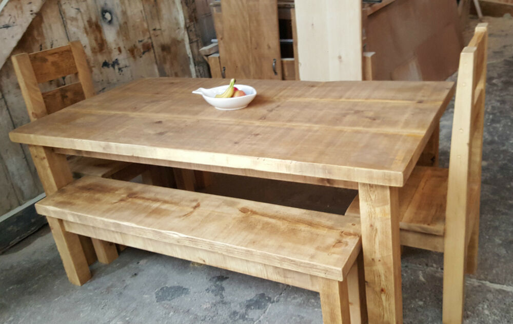 Solid Wood Rustic Chunky Plank Wooden Table Bench And