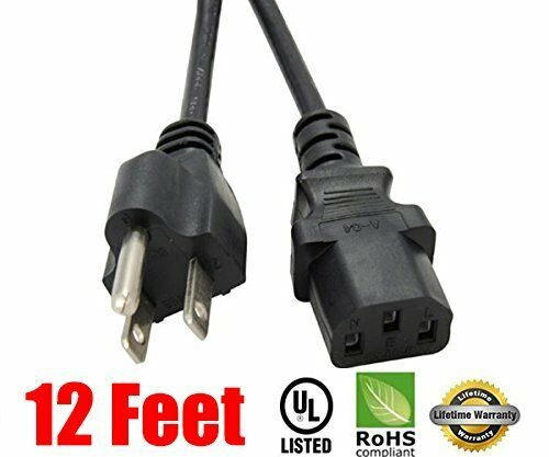 12ft 3prong Ac Power Cord For Sony Sceptre Rca Panasonic