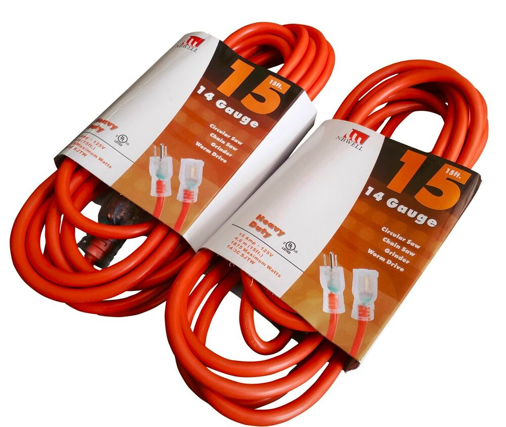 Two 2 15 Foot 14 Gauge Extension Cord Ul Lit End 3 Wire
