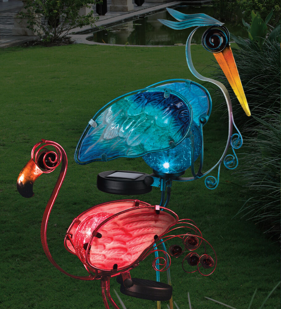 "Solar Light Garden Birds Glass & Metal 21 "" Stake REGAL"