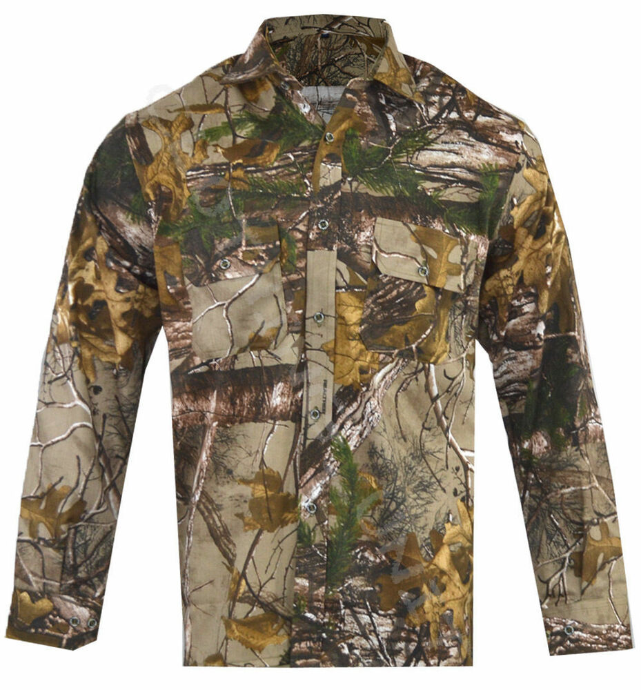 Mens jungle print camouflage army combat long sleeve shirt for Camo fishing shirt