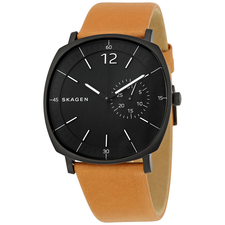 Skagen rungsted black dial tan leather mens watch skw6257 768680237917 ebay for Black tan watch