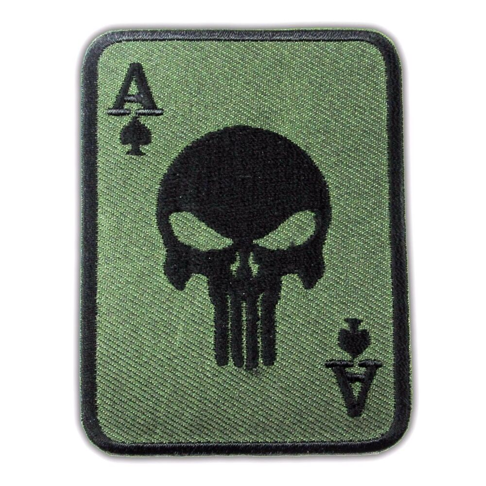 PUNISHER Ace Of Spades Death Skull Cards Embroidered Iron