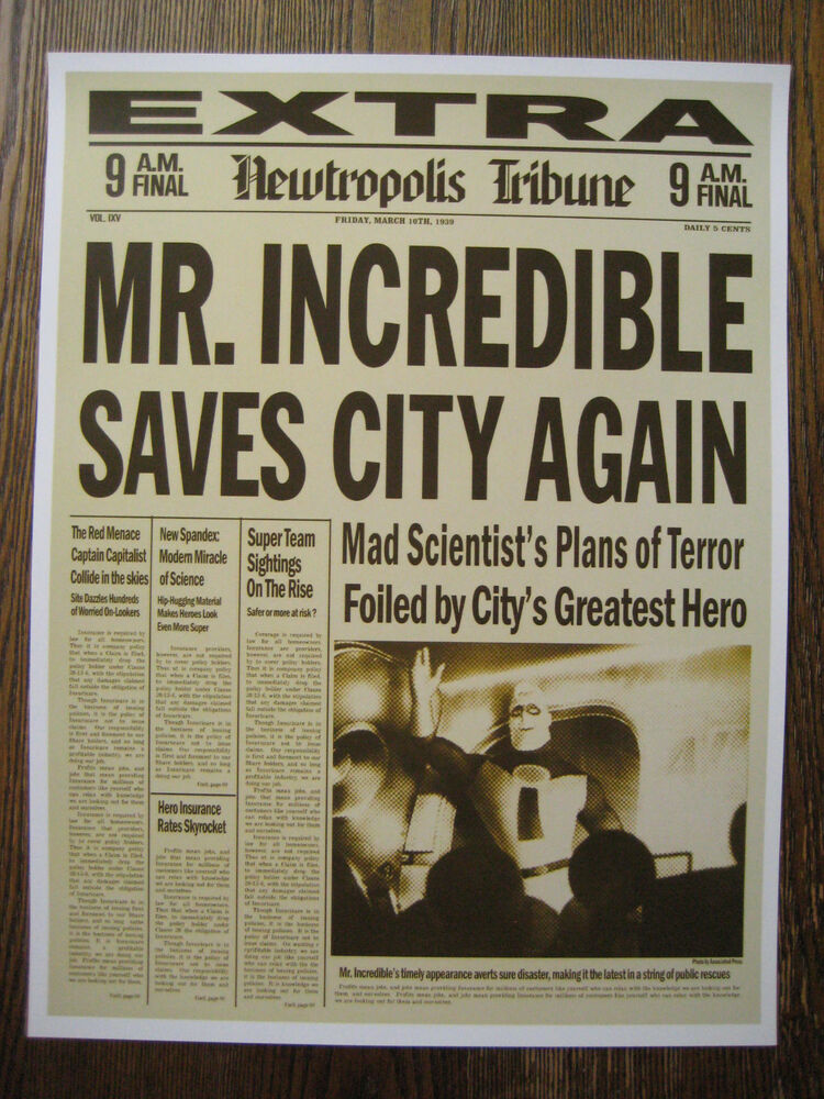the incredibles newspaper   11 u0026quot  x 14 5 u0026quot    - collector u0026 39 s poster print