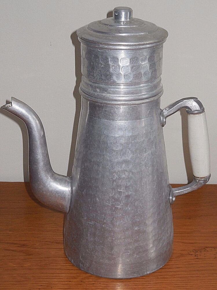Vintage French Handmade Coffee Pot Ca 1950 Hammered