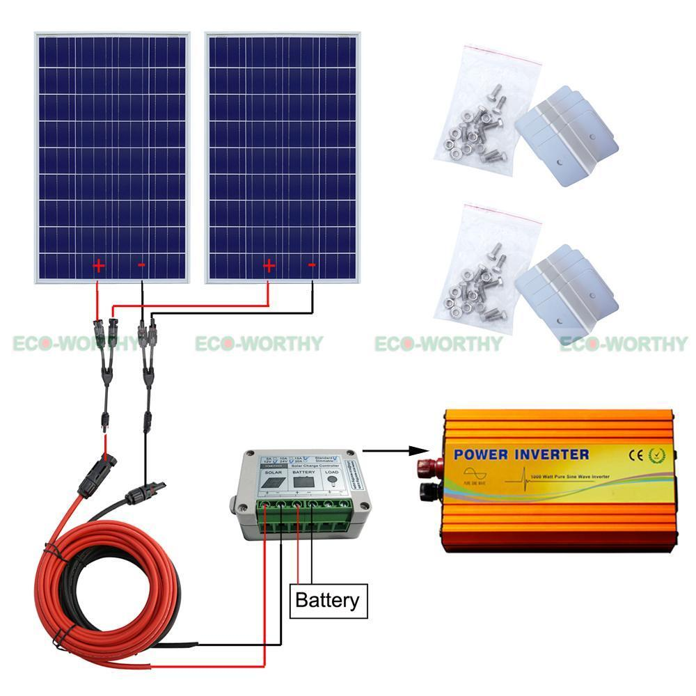 200watt kit 2 100w solar panel w   1000w inverter for 12v