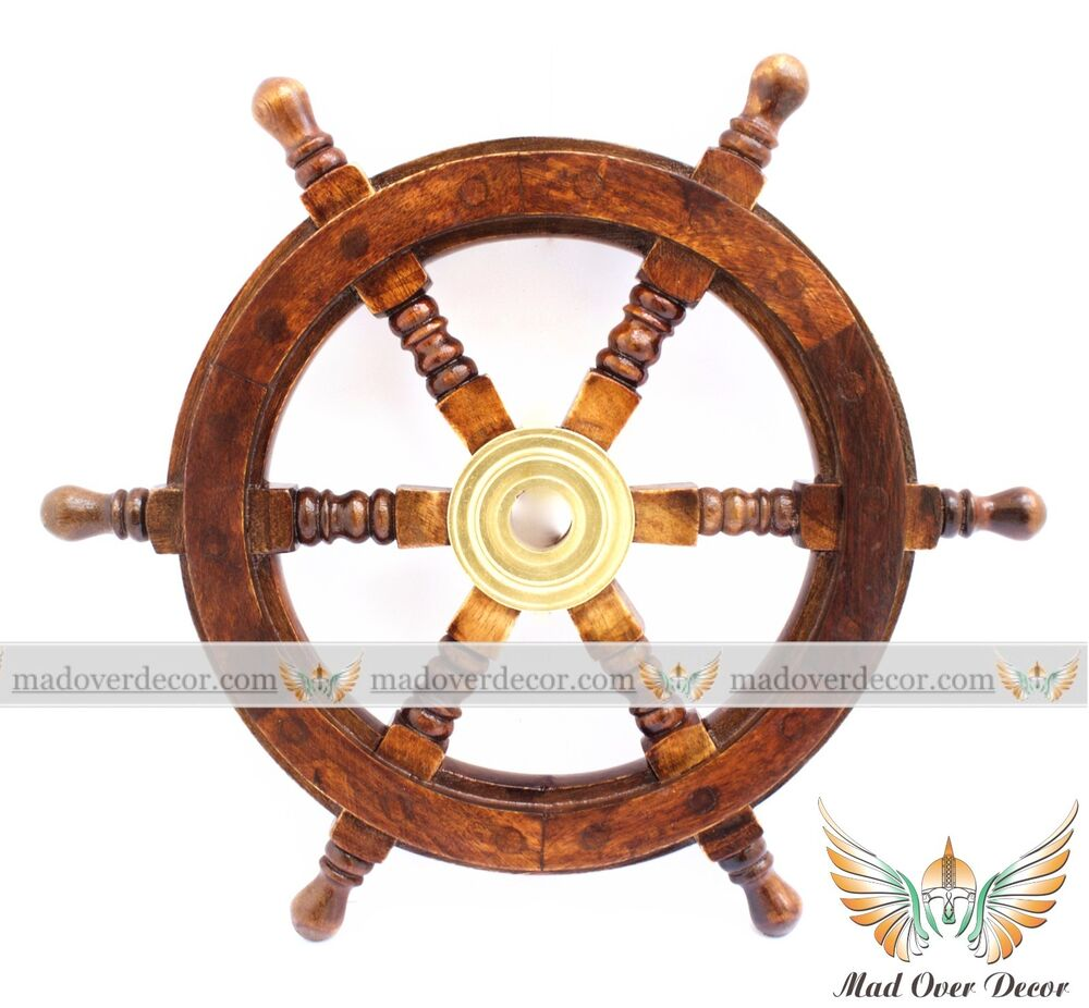 Nautical Wheel Decor: NAUTICAL WOODEN SHIP STEERING WHEEL PIRATE DECOR WOOD