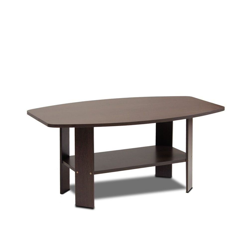 Table coffee furniture top modern brown living room round wood simple new cheap ebay Round coffee table modern