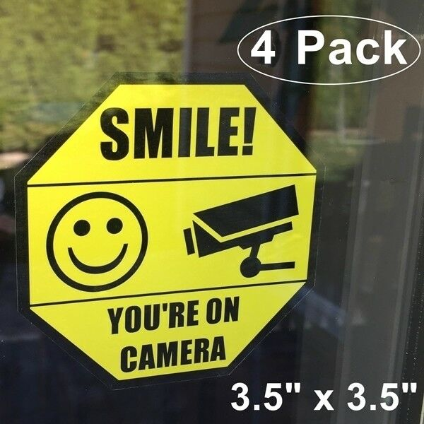 4 Home Security Smile You Re On Camera Window Door Warning