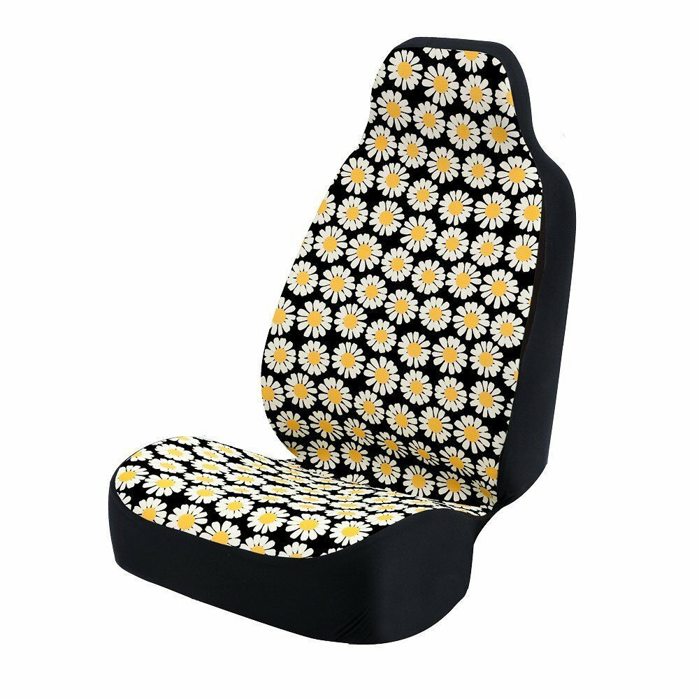 universal fit 50 50 car bucket seat cover yellow white daisies black background ebay. Black Bedroom Furniture Sets. Home Design Ideas
