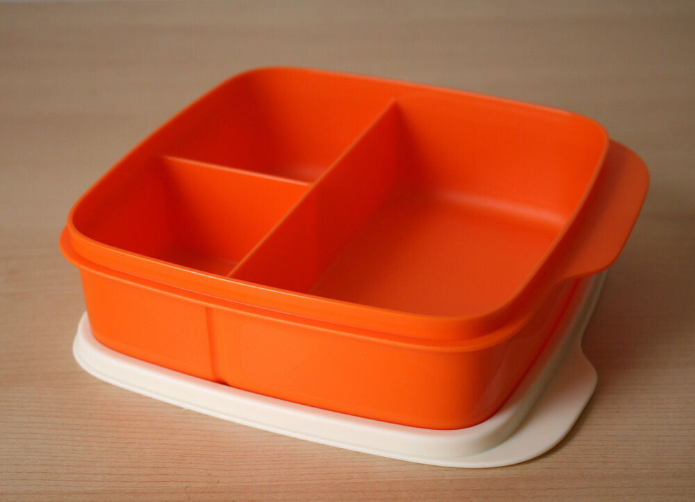 tupperware lunch square divided packette lunch box tangelo. Black Bedroom Furniture Sets. Home Design Ideas