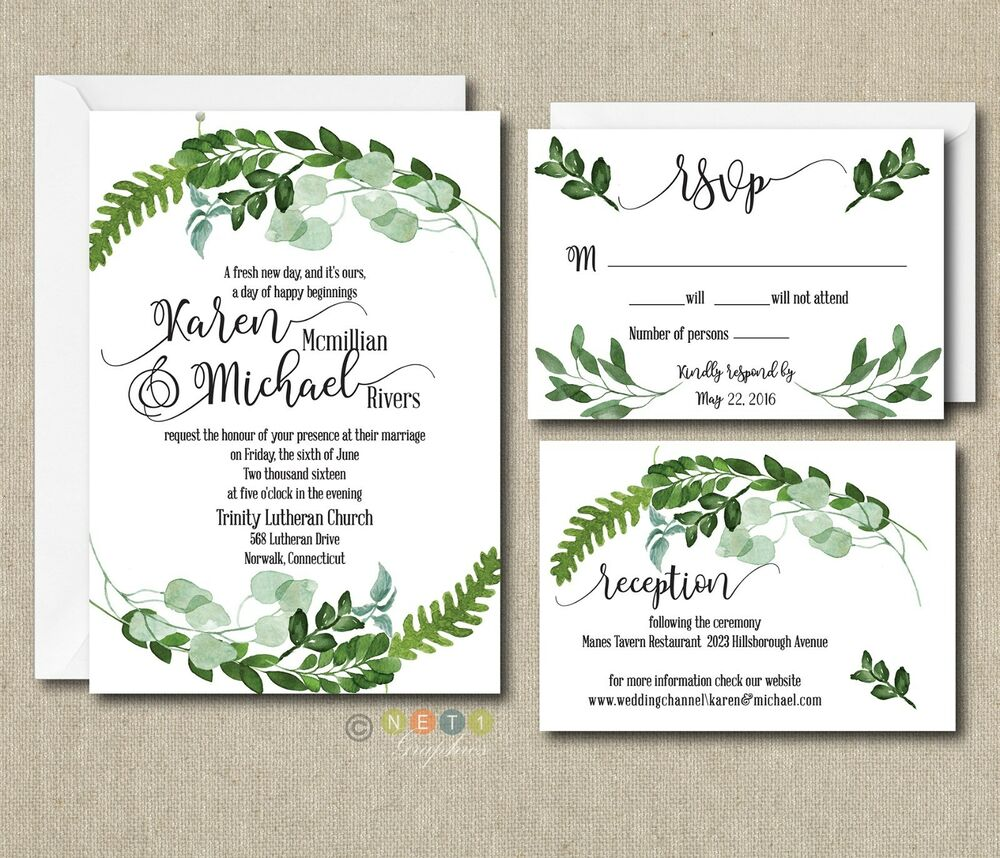 100 Personalized Botanical Watercolor Ferns, Leaves Wedding ...