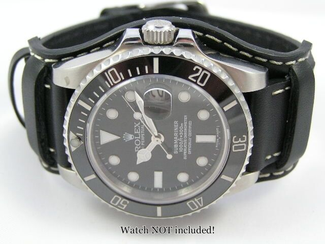 Superb Leather Bund Watch Strap For Rolex Submariner Watch