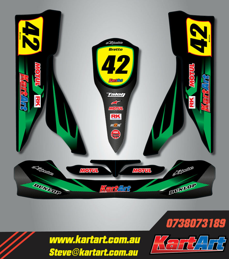 Details about tony kart otk m2 full custom kart art sticker kit thunder style graphics