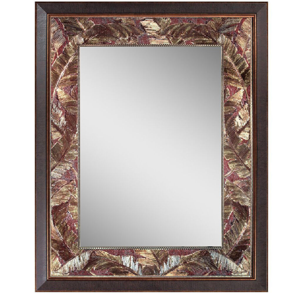 Antique rectangular frame wall mirror vanity bathroom home decor gold accent usa ebay Frames for bathroom wall mirrors