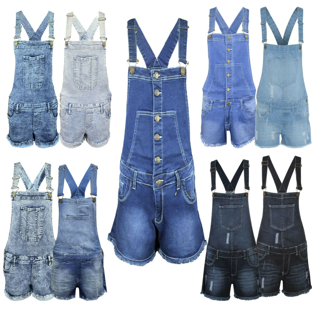 b2ef8968791 Details about New Girls Ladies Womens Denim Dungarees Playsuit Jumpsuit  Shorts Pinafore 8-18